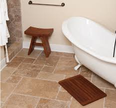 Spa Bath Mat Bathroom Cozy Teak Bath Mat On Travertine Tile Floor And Stone