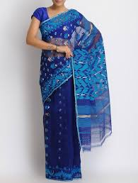 dhakai jamdani buy navy blue cotton zari dhakai jamdani saree online at jaypore