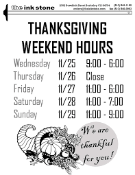 thanksgiving week hours the ink