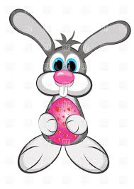 easter bunny boy with colored egg vector clipart image 8561