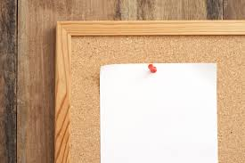 image of blank white paper pinned on cork board freebie photography