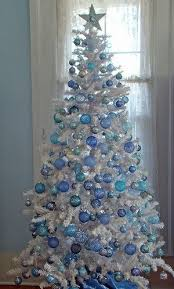 inspiring white tree with blue decorations 60 for house