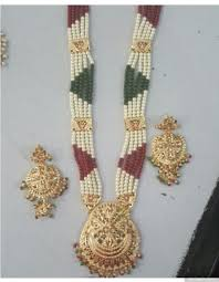 gold plated necklace sets images 22 carat gold plated multicolored pearl jadau long necklace set jpg