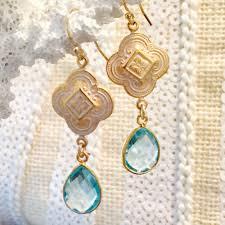 design of earrings blue topaz patina quatrefoil design dangle earrings teramasu