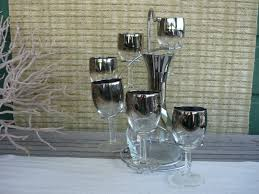 Modern Wine Glasses by Vintage Silver Ombre Decanter And Wine Glass Set Mid Century