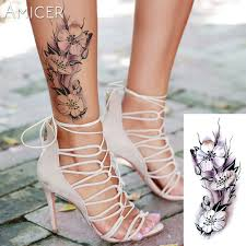 rose artificial flowers arm shoulder tattoo stickers flash henna