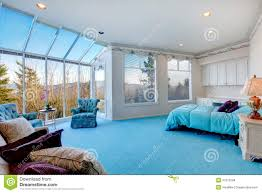 Light Blue And White Bedroom Amazing Light Blue And White Bedroom With Glass Wall Stock Photo