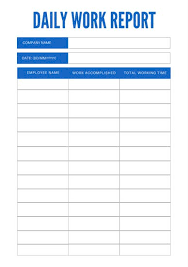 employee daily report template simple blue daily work report templates by canva