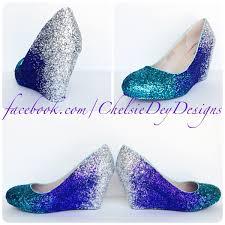 teal wedge glitter pumps purple ombre low wedding high heels