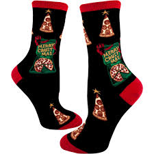 christmas socks christmas pizza socks wish you a merry crustmas women s crew sock
