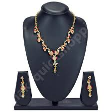 gold orange necklace images Orange necklace and earring set 199 buy designer necklaces jpg