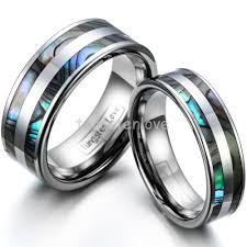 couples ring sets high tungsten engagement rings set with abalone