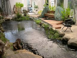 decoration indoor koi pond with stone waterfall beautiful small