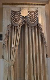 Old Curtains Formal Swags And Jabots Mounted Within An Upholstered Cornice