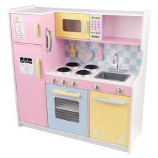 Pretend Kitchen Furniture Kidkraft Large Pastel Kitchen Playset 53181 The Home Depot