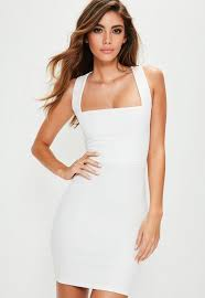white bodycon dress white sleeveless lace up back bodycon dress missguided