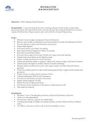 Bookkeeping Resume Template Church Bookkeeper Job Description Business Sheet Templates Sample