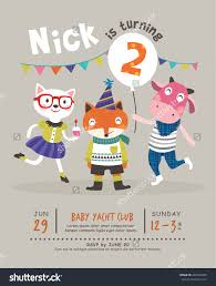 2nd Birthday Invitation Card 2nd Birthday Party Invitation Card Stock Vector 200186630