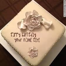 write name on white rose cake happy birthday cake with name