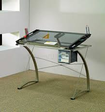 Modern Office Table With Glass Top Top U0026 Metal Base Modern Drafting Home Office Desk