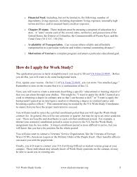 Resume For Work Study Jobs by Va Work Study Guide