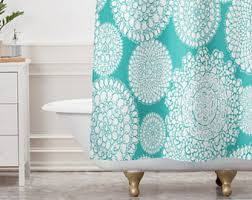 Turquoise Shower Curtain Aqua Shower Curtain Etsy