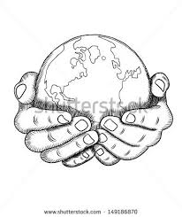 drawn hand earth pencil and in color drawn hand earth