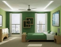 smooth dark green wall paint simple ceiling fan light brown wooden