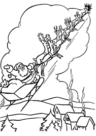 santa sleigh colouring santa sleigh and reindeer coloring pages