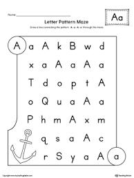 letter a pattern maze worksheet letter patterns maze and worksheets