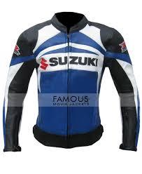 motorcycle racing jacket buy online suzuki gsx r blue black biker racing leather jacket sale