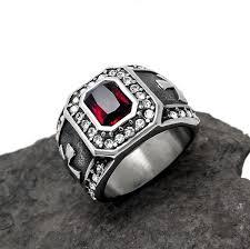 steel male rings images Punk real stainless steel ruby men ring big finger ring buycoolprice jpg