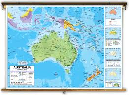 Universal Map Advanced Australia Political Classroom Map On Spring Roller