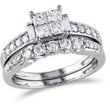 Diamond Wedding Ring Sets by Miabella 1 Carat T W Princess Round And Baguette Cut Diamond