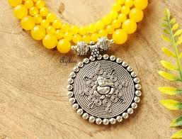 yellow necklace set images Yellow ganesha gemstone artisan handmade beaded necklace jpg