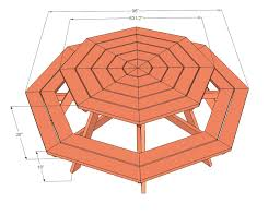 Free Diy Table Plans by Picnic Table Plans Octagon Picnic Table Free And Easy Diy