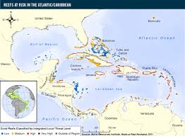 Map Caribbean by Reefs At Risk In The Atlantic Caribbean World Resources Institute