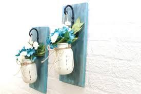 Wall Sconce Floral Arrangements Set Of 2 Blue Bayou Mason Jar Wall Sconces Floral Arrangements