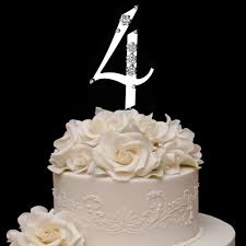 french flower swarovski crystal wedding cake topper silver
