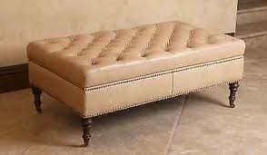 Leather Storage Ottoman Leather Storage Ottoman Tan Beige Rectangle Tufted Nailhead Living