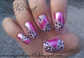 my pretty nailz pink chrome leopard print nail sting design