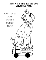 fire dog wearing firefighter helmet colouring page fun colouring