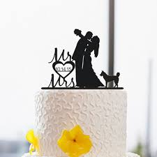 wedding cake topper with dog silhouette cake topper with dog wedding cake topper custom