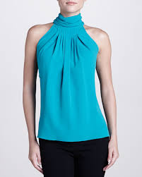 turquoise blouse lyst michael kors georgette pleated turtleneck blouse turquoise