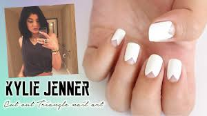 kylie jenner cut out triangle nail art no tools needed youtube