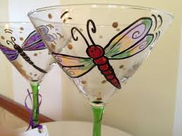martini glass painting hand made hand painted dragonfly martini glasses glassware by