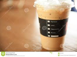 Coffee Cup Design by Menu On Ice Coffee Cup In Shop Background Stock Photo 63561821
