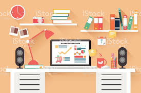 Office Desk Work Home Office Desk Flat Design Work Desk Computer And Stationery