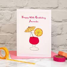 cocktail u0027 personalised handmade 40th birthday card by jenny arnott