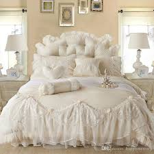 light white jacquard silk princess bedding set silk lace ruffles